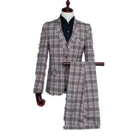 ブラウン メンズ スーツ スーツセット 上下セット セットアップ 3点セット 花柄 メンズ タキシード メンズ タキシード パンツ 演出服 ベスト付き 司会