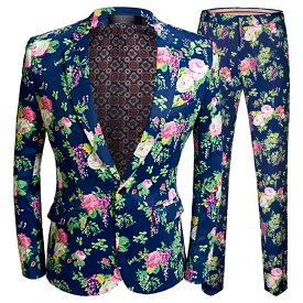 花柄 プリント メンズスーツ スーツセット 上下セット タキシード メンズ タキシードフォーマル 演出舞台 結婚式/パーティ/司会 スーツ/ズボンの2点セット 大きいサイズ有り