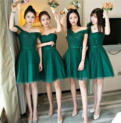 4デザイン グリーン ブライズメイドドレス パーティードレス ミニドレス フォーマルドレス ショート丈 ワンピース二次会演出司会 結婚式お呼ばれ ショート