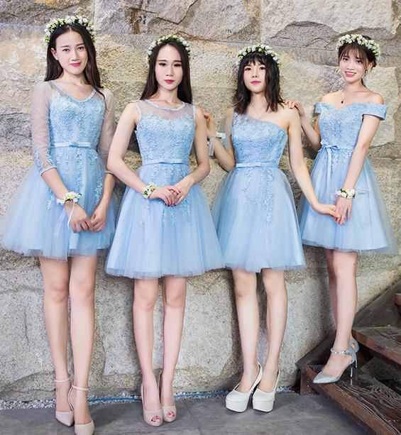 4デザイン ブルー 水色 ブライズメイドドレス パーティードレス ミニドレス フォーマルドレス ショート丈 ワンピース二次会演出司会 結婚式お呼ばれ ショート