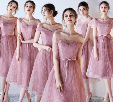 6タイプ入荷 ピンク ブライズメイドドレス パーティードレス ミディアムドレス フォーマルドレス ミモレ丈 ワンピース二次会演出司会 結婚式お呼ばれ ミディアム丈