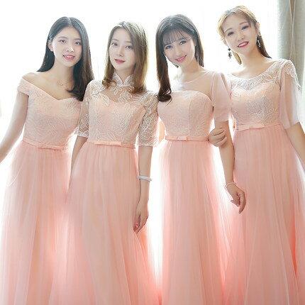 4デザイン ピンク パーティードレス ワンピース二次会演出司会ブライズメイドドレス結婚式お呼ばれ ミディアムドレス ミモレ丈 ブライズメイド ドレス 二次会ドレス フォーマルドレス