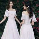 ピンク 4タイプ レース ブライズメイド ドレス パーティードレス ミディアムドレス フォーマルドレス  ミモレ…