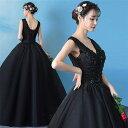 ブラック カラードレス 二次会ドレス パーティードレス ウェディングドレス 演出舞台 発表会 演奏会用ドレス …