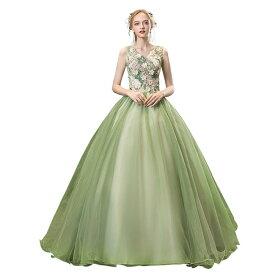 グリーン カラードレス 二次会ドレス パーティードレス ウェディングドレス 演出舞台 発表会 演奏会用ドレス ロングドレス プリンセスライン 司会 ステージ衣装・二次会・花嫁衣裳にも♪