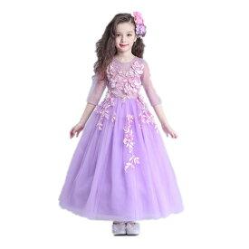 4a7ee5f49050a ロングドレス 子供ドレス 花柄 パープル フォーマル ワンピース キッズ服 子供服 女の子 ワンピース 子ども