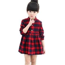 dfe040f41040f 2色入荷 チェック柄 子供ドレス 長袖 ワンピース キッズ服 子供服 女の子 ワンピース 子ども