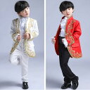 3色入荷 子供服 キッズフォーマル スーツ 燕尾服 発表会 ジャケット、ズボン、蝶ネクタイの3点セット ダンス 演…