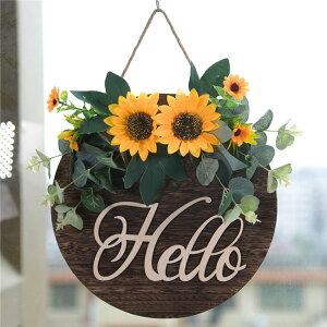 2色展開 造花 玄関 壁掛け 庭園 飾り 結婚式 造花 花輪 撮影 道具 壁飾り 向日葵 ヒマワリ バラ 薔薇 ドアの花輪 ウェディング 引っ越し祝い 新築祝い ひもを含む 30cm