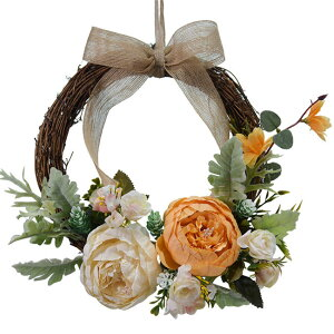 5色展開 造花 玄関 壁掛け 庭園 飾り 結婚式 造花 花輪 撮影 道具 壁飾り ぼたん ぼたんの花 ドアの花輪 ウェディング 引っ越し祝い 新築祝い ひもを含む 26cm