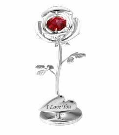 スワロフスキー SWAROVSKI/ 小さな 薔薇 置物 シルバー /クリスタル 誕生日 プレゼント フラワー ギフト 女性