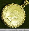 イギリス通貨 24金コート エリザベス コイン 大 ネックレス ゴールド 喜平 チェーン キヘイ 送料無料(レターパック)…