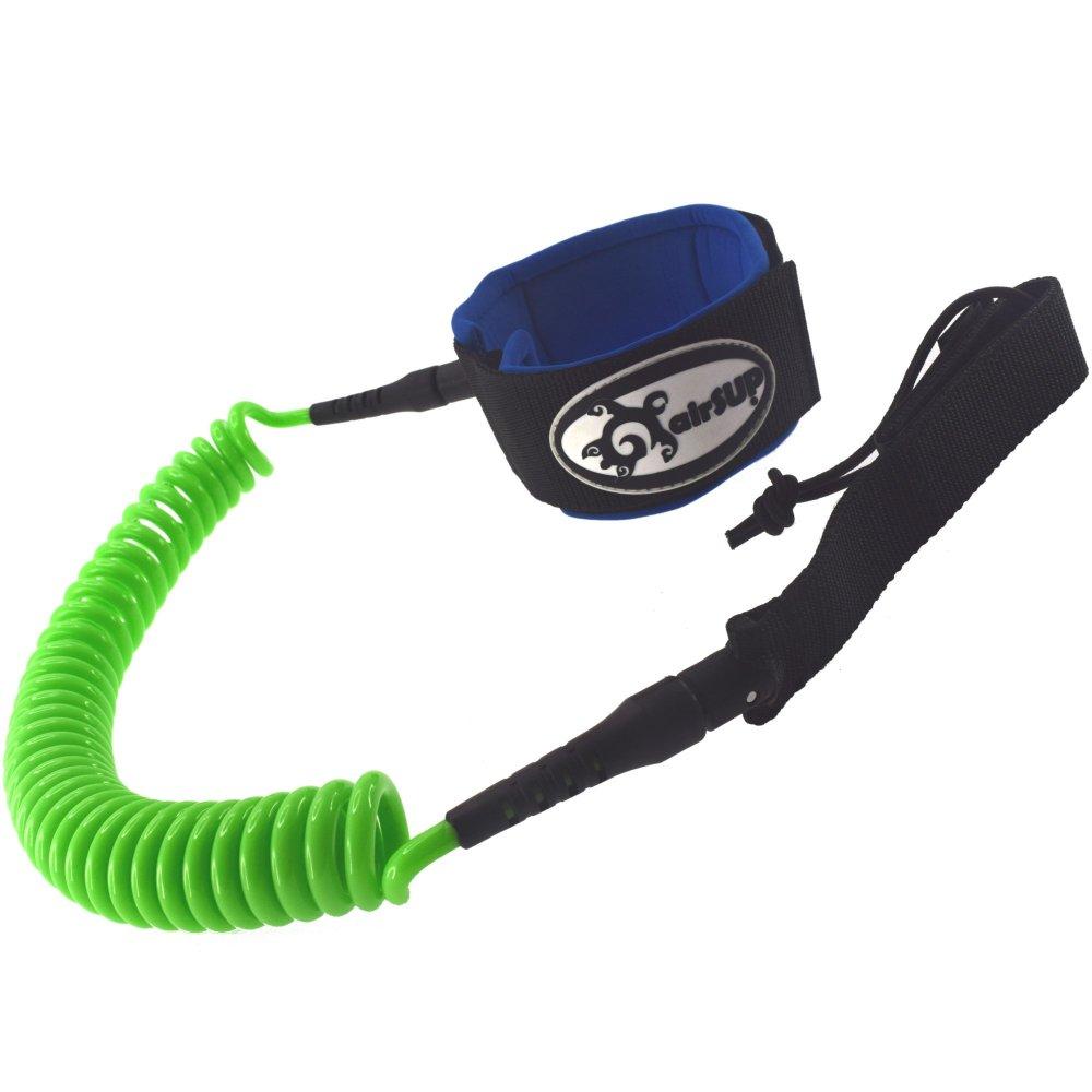 【airSUP】コイル リーシュコード inflatable / スタンドアップパドルボード / SUP / ロングボード用 (305cm グリーン 10 foot x 7mm) 膝用