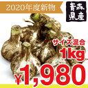 【2020年度産新物】青森県産 土付きにんにく1kg M以上混合 福地ホワイト六片種