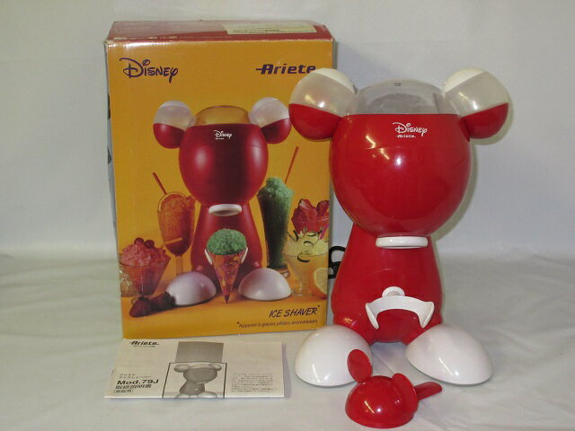 【中古】 デロンギ 電動かき氷器 Mod.79J 元箱付き ディズニー ミッキー型      DeLonghiアリエテ アイスシェーバー レッド      Disney Mickey 家庭用かき氷シェーバー 赤