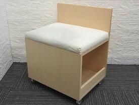 【中古】 無印良品 メープル材 スツール 収納付き キャスター付き     良品計画 MUJI ナチュラル ドレッサースツール 天然木     座面布張り チェア 椅子 イス ロータイプ