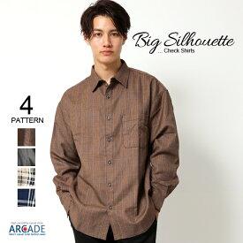 ビッグシルエット 秋冬 長袖シャツ メンズ シャツ オーバーサイズ シャツ ドロップショルダー ビッグシャツ メンズファッション トップス カジュアルシャツ 韓国ファッション チェック ブラウン 大きいサイズ