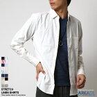 リネンシャツ,メンズ,綿麻シャツ,7分袖シャツ
