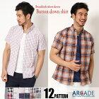 半袖カジュアルシャツシャツボタンダウンシャツメンズストライプチェック柄シャツトップス