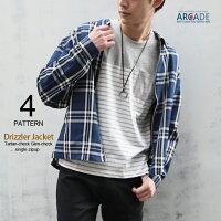 ドリズラージャケットメンズチェック柄グレンチェックスイングトップブルゾンおしゃれ韓国メンズファッション