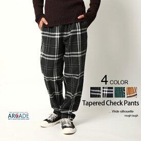 チェックパンツ メンズ テーパード イージーパンツ ウェスト ゴム 紐 トラッド メンズファッション 韓国ファッション カジュアルウェア