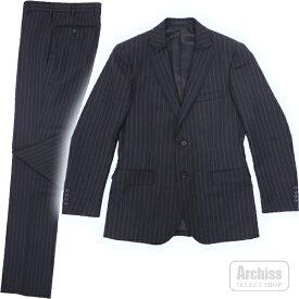 マッキントッシュロンドン MACKINTOSH LONDON スーツ 総裏 2ボタン 紺黒 ペンシル ストライプ 92Y5 身長170 94Y6 身長175 96Y7 身長180 G1H01-251-29S51410-12