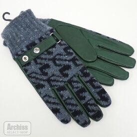 ヴィヴィアンウエストウッド 手袋 グローブ メンズ ブルー 霜降り 濃紺 千鳥柄 グリーン 羊革 ベルト デザイン 24cm 25cm 547VW552S53584・S57316
