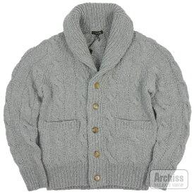 マッキントッシュロンドン MACKINTOSH LONDON カーディガン ニット セーター カウチン カシミヤ 100% グレー フィッシャーマン柄 Mサイズ 胸囲88-96 G1N39-652-08S61524