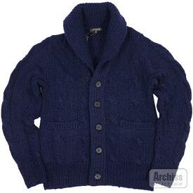 マッキントッシュロンドン MACKINTOSH LONDON カーディガン ニット セーター カウチン カシミヤ 100% 紺 ネイビー フィッシャーマン柄 Mサイズ 胸囲88-96 G1N39-652-26S61526