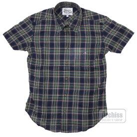 ヴィヴィアンウエストウッドマン Vivienne Westwood MAN 半袖シャツ 紺 緑 オレンジ系 タータンチェック柄 44サイズ 7320-175S35622-23