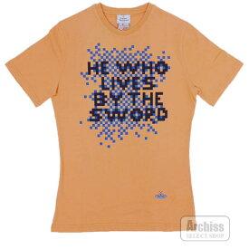 ヴィヴィアンウエストウッドマン Vivienne Westwood MAN Tシャツ 半袖 薄オレンジ ネイビー ドット絵 プリント オーブ刺繍入り Sサイズ VI-V9-74266-730S58639