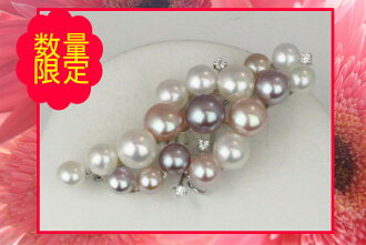 Pearl pearl broach freshwater pearl pearl broach fresh water pearl multicolored silver design broach wedding ceremony, graduation ceremony, entrance ceremony, ceremonial occasion, pearl pearl moonstone