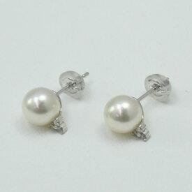 真珠 パール ピアス あこや真珠 パールピアス 7mm-7.5mm ホワイトピンクカラー ダイヤ ホワイトゴールド デザイン