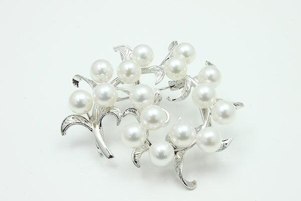真珠 パール ブローチ あこや真珠 パール ブローチ 6.5mm-7mm 16pcs 帯留め兼用 ホワイトグリーンピンクカラー シルバー デザイン アコヤ本真珠