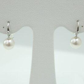 真珠 パール ピアス あこや真珠 パール ピアス 7mm-7.5mm ダイヤ デザイン 揺れる フック フープ