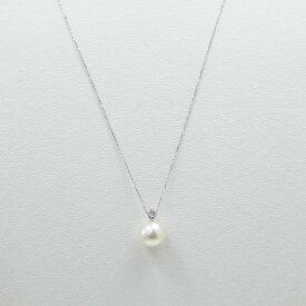真珠 パール ネックレス あこや真珠 ネックレス アコヤ本真珠 K10 ダイヤ カジュアル