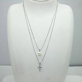 真珠 パール ネックレス あこや真珠 パールネックレス 7mm-7.5mm ホワイトカラー シルバー クロス デザイン 2連 アコヤ本真珠 カジュアル