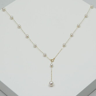 Pearl pearl necklace Ako and pearl pearl necklace 5mm - 6mm station long 60cm design K18 K14WG pearl oyster real pearl カジュア