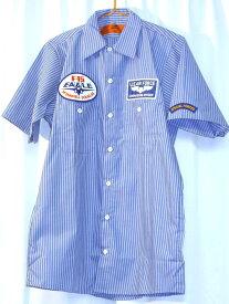 RED KAP WORK SHIRT★レッドキャップ★ワッペン付きワークシャツ★ブルー×ホワイト・ストライプ★F-15EAGLE★U.S.AIRFORCE