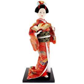 送料無料 日本人形 31cm(12インチ) 2 赤 扇子 本格派人形 着物が綺麗な日本人形 ms9001
