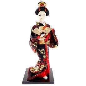 送料無料 日本人形 31cm(12インチ) 3 黒 扇子 本格派人形 着物が綺麗な日本人形 ms9002