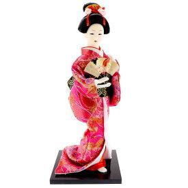 送料無料 日本人形 31cm(12インチ) 4 桃 扇子 本格派人形 着物が綺麗な日本人形 ms9003