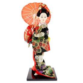 送料無料 日本人形 31cm(12インチ) 5 黒 傘 本格派人形 着物が綺麗な日本人形 ms9004