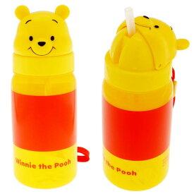 くまのプーさん ストロー付ボトル 水筒 PBS3STD キャラクターグッズ シリコンストロー付き水筒 ダイカットデザイン Sk165