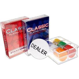 送料無料 コンパクトポーカーセット トランプ2個 チップ60枚付 本格派カジノゲーム 4人まで遊べる Ag006