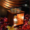 チーク×ガラスのキャンドル式 高級アロマポット (ナチュラルブラウン) 【 アロマバーナー アロマデフューザー 石 …