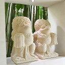 バリ舞踊 カエルの石像(ペア)(スペシャル装飾40cm) 【 かえる 置物 石彫り ストーン バリ 雑貨 アジアン 雑貨 ガ…