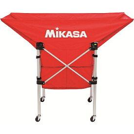 送料無料(※沖縄除く)[MIKASA]ミカサ携帯用折り畳み式ボールカゴ(舟型)フレーム・幕体・キャリーケースの3点セット(AC-BC210-R)レッド