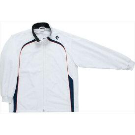 送料無料(※沖縄除く)[CONVERSE]コンバース ジュニアウォームアップジャケット(裾ボックスタイプ)(CB482503S)(1129)ホワイト×ネイビー