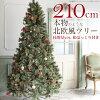 クリスマスツリー210cmおしゃれ北欧風Havu松ぼっくり付き2019年枝増量バージョンヌードツリーもみの木2.1m単品【オーナメントLEDライト飾りなし】